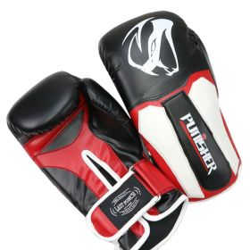 LastPunch 12oz Adult Size  Black and White Viper Detailed Boxing Gloves