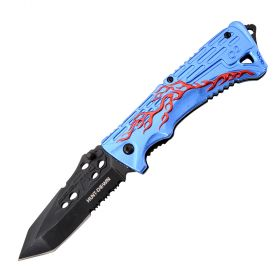 "8"" Hunt Down Blue Handle Spring Assisted Knife With Belt Clip"