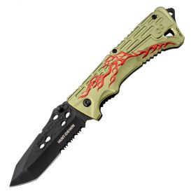 "8"" Hunt Down Green Handle Tactical Team Spring Assisted Knife With Belt Clip"