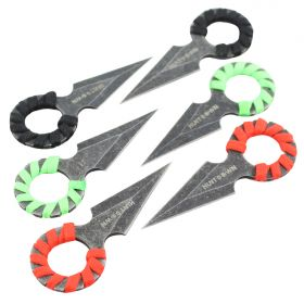"4"" Hunt Down Red, Green & Black Rope Wrapped Around Handle Throwing Knives"