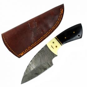 "TheBoneEdge 7"" Damascus Fixed Blade Full Tang  Black Horn & Bone Handle Knife"