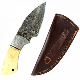 "TheBoneEdge 7"" Damascus Fixed Blade Full Tang  Bone Handle Handmade Steel Knife"