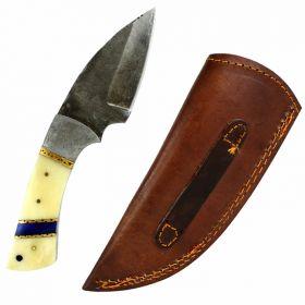 "TheBoneEdge 7.5"" Damascus Steel Knife Fixed Blade FullTang  Bone Handle Handmade"