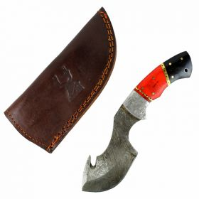 "TheBoneEdge  8"" Damascus Fixed Blade FullTang Red&Black  Bone Handle Steel Knife"