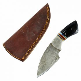 "TheBoneEdge  7"" Damascus Steel Knife Fixed Blade FullTang Black  Horn Handle"