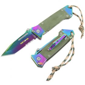 "Hunt-Down 7.5"" Rainbow Spring Assisted Tactical Rescue Knife W/ Green G10 Handle"