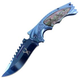 "TheBoneEdge 8.5"" Spring Assisted Knife with Ridged Top Edge Blue Good Quality"