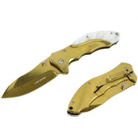 "Hunt-Down 7"" Gold Classic Folding Knife With A White plastic Marble Trim Handle"