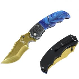 "TheBoneEdge 7.5"" Gold Ball Bearing Folding Knife With Blue Plastic Handle"