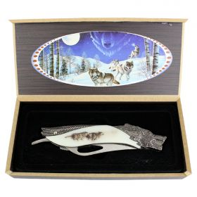 "TheBoneEdge 8"" Wolf Pattern Handle Folding Knife With Gift Box"