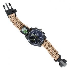 Hunt-Down Desert Camo Ultimate Paracord Watch Travel Camping Survival Tactical Gear