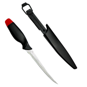 "11.5"" Defender Comfort Red Cap Fish Fillet Knife Black w/ Red Accent Handle"