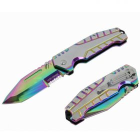 "Hunt-Down 8"" Rainbow Ball Bearing Folding Knife Tactical Rescue With Belt Clip"