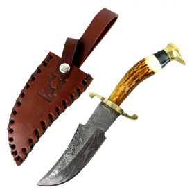 "TheBoneEdge 8.5"" Damascus Blade Hunting Sharp Knife Real Stag Handle Leather Sheath"