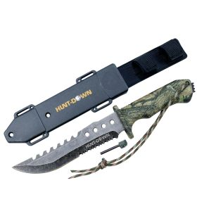 "Hunt-Down 12"" Camo Survival Hunting Knife with Fire Starter and ABS Sheath"
