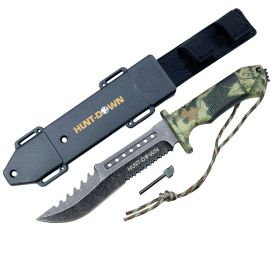 "Hunt-Down 12"" Survial Hunting Knife with ABS Sheath and Fire Starter New"