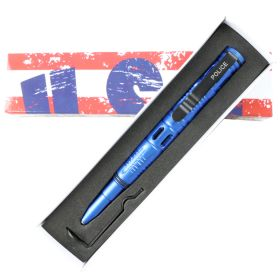 "Hunt-Down New 6"" Blue Ploice Tactical Pen For Self Defence with Glass Breaker"