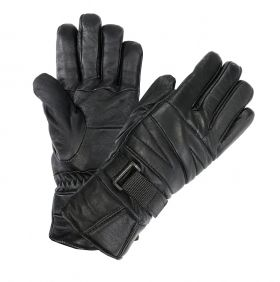 Perrini Motorcycle Gloves Leather Biker Gloves Black Color