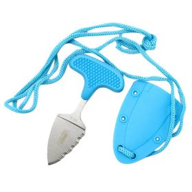 "Defender-Xtreme Hunting Knife 3.5"" Blue Full Tang Stainless Steel Blade w/ Cord"