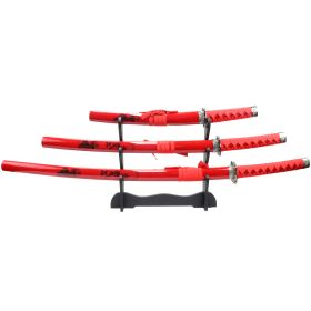 3pc Red Samurai Katana Sword Set Corbon Steel Blades with Stand Good Quality