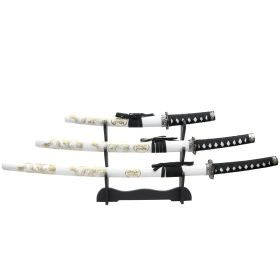 3pc White Dragon Samurai Sword Set Corbon Steel Blades with Stand Good Quality
