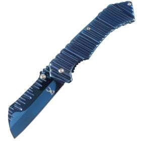 "TheBoneEdge 7"" Spring Assisted Blue Knife Ridged Blade & Handle with Belt clip"