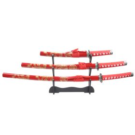 3pc Red Dragon Samurai Sword Set Corbon Steel Blades with Stand Good Quality