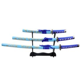 3pc Light Blue Dragon Sanurai Sword Set Corbon Steel Blades with Stand