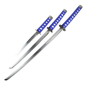 3pc Light Blue Dragon Sanurai Sword Set Carbon Steel Blades with Stand