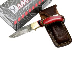 "TheBoneEdge 6.5"" Damascus Folding Knife Red Wood Handle Handmade with Sheath"