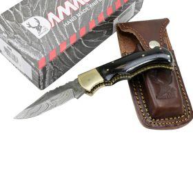 "TheBoneEdge 6.5"" Damascus Folding Knife Horn Handle Handmade with Sheath New"
