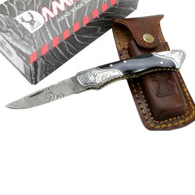 "TheBoneEdge 7"" Damascus Folding Knife Horn Handle Bolster Handmade with Sheath"