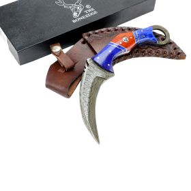 "TheBoneEdge 8"" Skinner Damascus Blade Blue Horn Handle Hunting Knife with Sheath"