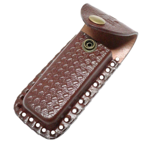 "TheBoneEdge Brown 5"" Leather Sheath For Folding Blade Pocket Knife Belt Loop"