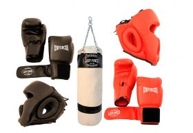 Last Punch Boxing Package New 2 Pairs of Headgears 2 Pairs Gloves & Punching Bag