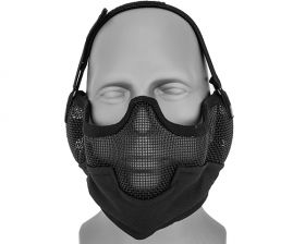 SAC-108B Metal Mesh Half Mask w/Ear Protection(BLACK)