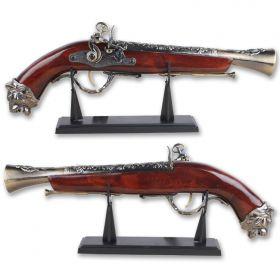 "Defender 16"" Decor Brass Finish Antique Gun Replica Model Non Firing Pistol with Stand"
