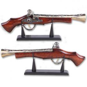 """Defender 16"""" Decor Gray Finish Antique Gun Replica Model Non Firing Pistol with Stand"""