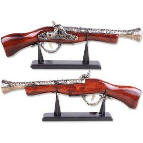 """Defender 17"""" Decor Gray Finish Antique Gun Replica Model Non Firing Pistol with Stand"""