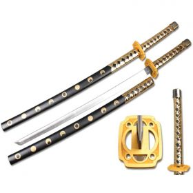 "Defender Foam Samurai Sword 39"" Gold & Black Handle with Wood Scabbard"