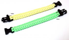 "10.5"" Glow In Dark Survival Paracord Bracelets & Buckles With Whistle"