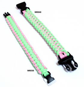 "9"" Glow In Dark Green & Pink Survival Paracord Bracelets & Buckles"