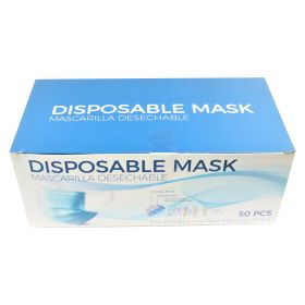 Disposable Face Masks 50 PCS 3 Layer Breathable Safety Mask Blue