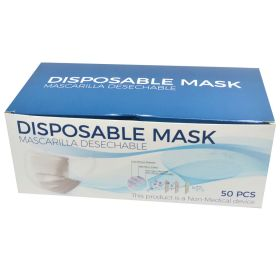 Disposable Face Masks 50 3 Layer Breathable Safety Mask White