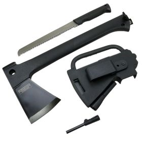 "Defender-Xtreme Multi Function Camping Hunting Tactical Survival 13.5"" Steel Axe W/ Saw Fire Starter"