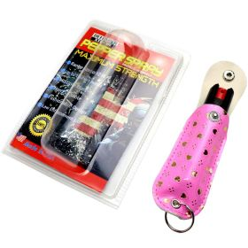 Snake Eye Pepper Spray 1/2 Oz With  Pink Silver Heart Sheath Key Chain
