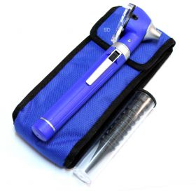 Blue Fiber Optic Otoscope Mini Pocket Medical Ent Diagnostic Set