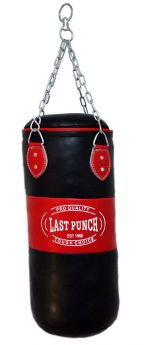 Heavy Duty Red & Black Filled Punching Bag - Medium With Chains