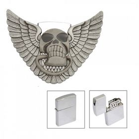 Skull image with wings belt buckle lighter storage/holder