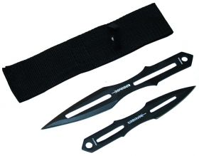 "8.5"" & 6.5"" Black Throwing Knives With Sheath"
